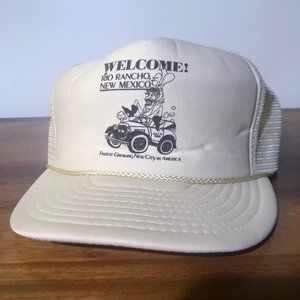 Vtg Rope Trucker Hat Welcome to Rio Rancho NM